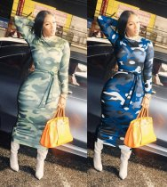 Camouflage Print Long Sleeve Maxi Dresses MX-10833