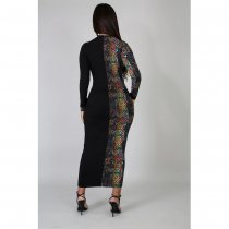 Snake Skin Print Patchwork Long Sleeve Maxi Dress ASL-6217