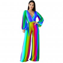 Gradient V Neck Wide Leg One Piece Jumpsuits MDF-5104