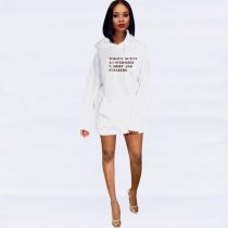 Letter Print Hooded Casual Mini Sweatshirt Dress YMT-6120