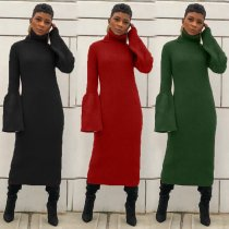 Solid Long Sleeve Turtleneck Long Maxi Dress HM-6181
