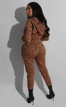 Leopard Print Hooded Zipper Two Piece Sets BS-1154