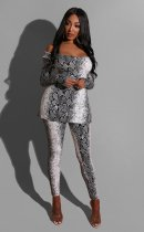 Snake Skin Print Long Sleeves Two Piece Pant Suits LS-0293