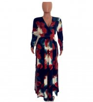 Sexy Printed V Neck High Split Long Maxi Dresses OM-1025