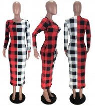 Plaid Print Long Sleeves Slim Maxi Dresses MX-10850
