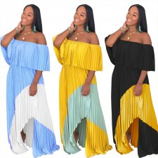 Chiffon Slash Neck Patchwork Irregular Pleated Maxi Dress ME-297