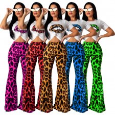 Sexy Letter Leopard Print Flare Pants Two Piece Set SHD-9166