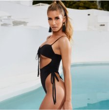 Black Sexy Lace Up Strap One Piece Swimsuit BLG-930772