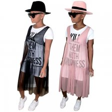 Casual Letter Print T Shirt And Mesh Dress 2 Piece Set LP-6177