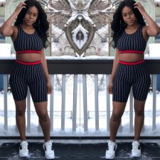 Striped Sleeveless Crop Tops And Shorts Set OJS-9100