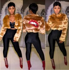 Faux Fur Sequined Lip Spliced Short Coat BN-9142