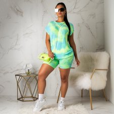 Casual Pritned T Shirt And Shorts Two Piece Outfit YMT-6086