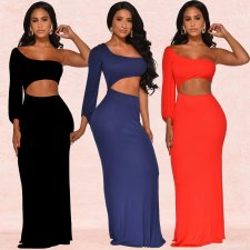 Solid One Shoulder Sexy Long Maxi Dresses BY-3267