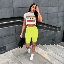 Casual Print T Shirt And Shorts Two Piece Set AWN-5018