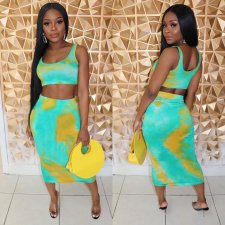 Tie Dye Print Crop Tops Midi Skirt Two Piece Set OM-1064