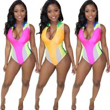 Sexy Patchwork Sleeveless Zipper One Piece Swimsuit  YH-5076