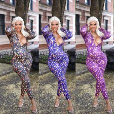 Sexy Printed Deep V Neck Long Sleeve Skinny Jumpsuits ARM-8125
