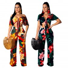 Floral Print Short Sleeve Wide Leg  Pant Set NK-8354
