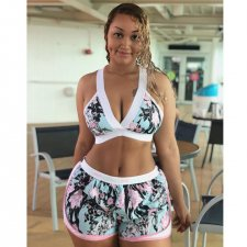 Floral Print Crop Tops Shorts Sports Two Piece Sets HM-6122