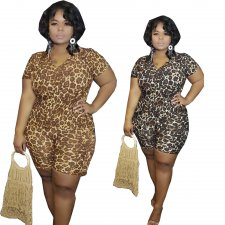 Big Size 5XL Leopard Print Short Sleeve Two Piece Sets YIF-1057