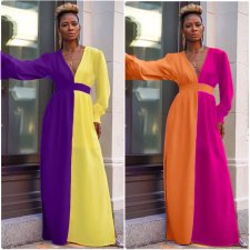 Contrast Color V Neck Long Sleeve Split Maxi Dresses MDF-5082