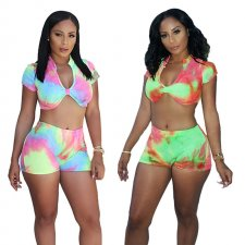 Sexy Tie Dye Print Crop Top And Shorts 2 Piece Suit YF-9391