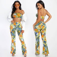 Floral Print Tube Top And Bell-bottomed Pants Suit CH-8024