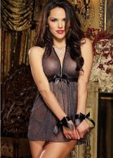 Halter See Through Mesh Black Bowknot Babydoll FQQ-0525