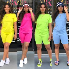 Solid T Shirt And Shorts Casual Two Piece Sets LSD-8366