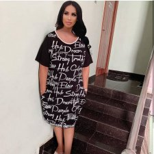 Letter Print Short Sleeve Casual Loose T Shirt Dresses MX-6007