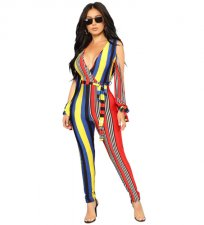 Open Shoulder Stripe Jumpsuit YIS-702