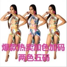Floral Print Sexy Cut Out Irregualr Two Piece Set MOY-5097