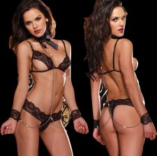 Black Lace Three Point Exposed SM Lingerie FQQ-0091