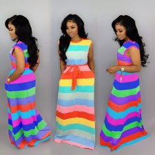 Rainbow Striped Sleeveless Sashes Maxi Dresses MTY-6186