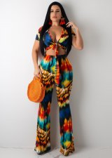 Sexy Printed Tie Up Crop Top And Pants Two Piece Suits ML-7219