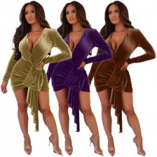 Deep V Neck Long Sleeve Wrap Bandage Dress LDS-3090