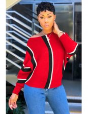 Red Plus Size Stripe Full Sleeve Pullover HGL-1068