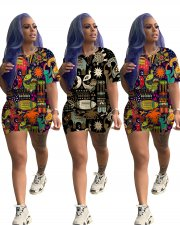 Fashion Printed Short Sleeve Casual Two Piece Set LQ-5061