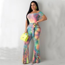 Sexy Printed Backless Off Shoulder Flare Jumpsuits LUO-3004