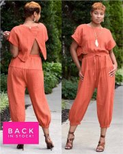 Solid Backless Top Long Pants Casual Loose 2 Piece Set TK-6016