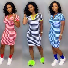 Classic Stripes Print V Neck Short Sleeve Dresses FST-7040