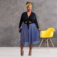 Plus Size 4XL Colored Stripes Tie Up Midi Dresses ME-5052