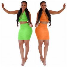 Plus Size Solid Halter Lace Up Mini Skirt Two Piece Sets KD-6022