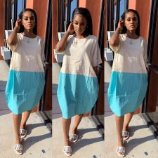 Color Block Short Sleeve Loose Midi Dresses LS-0262