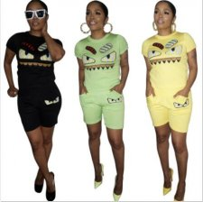 Cartoon Print T Shirt And Short Two Piece Sets MA-188