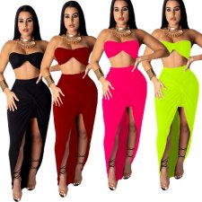 Sexy Crop Tops And Knotted Slit Maxi Skirts Sets YF-9370