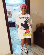 Cute Mickey Mouse Print Short Sleeve T Shirt Dresses YNB-7004