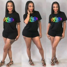 Letter Print T Shirt Tops And Shorts Two Piece Set ASL-6165