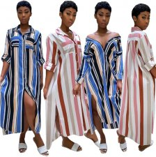 Plus Size Loose Stripes Printed Shirt Dress TR-935
