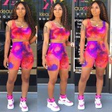 Tie Dye Print Tank Top And Shorts Two Piece Sets CQ-5235